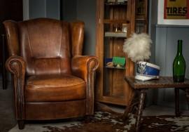 sunday blues cognac lederen fauteuil
